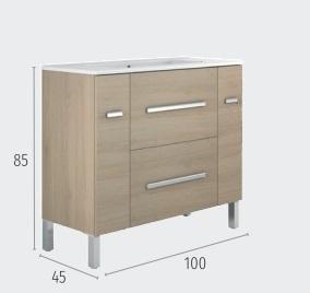 Thielsch Badmöbel Element 100 inkl. Waschtisch Mel Nebraska Grau