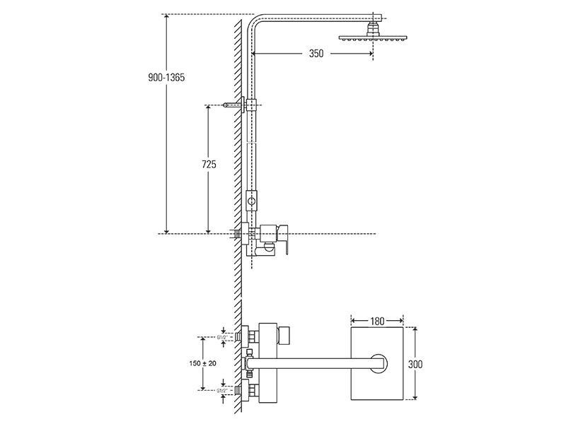 Treos Duschsystem mit Regenbrause 180x300 Serie 175