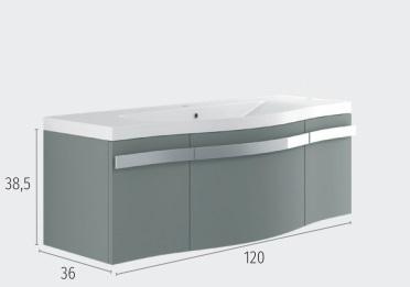 Thielsch Badmöbel Mistral 120 inkl. Waschtisch Indigo Blue Mattlackiert