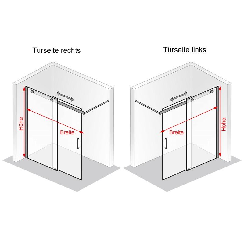 HSK Walk In Schiebetür K2P, 2-teilig - 1600 mm Rechts auf Duschwanne Riegelgriff mit Handtuchhalter Glasmatterierung mittig ohne Beschichtung exkl. Aufmaßservice