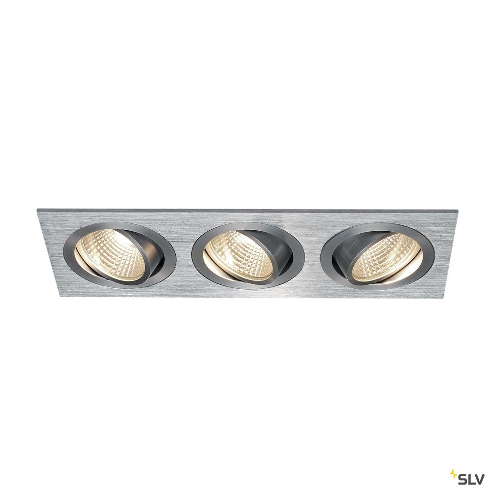 NEW TRIA 3 SET, Einbauleuchte, dreiflammig, LED, 3000K, rechteckig, aluminium gebürstet, 38°, 30W, inkl. Treiber, Clipfedern
