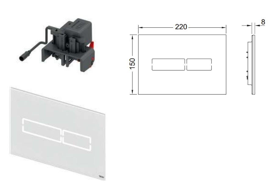 TECElux Mini - elektronische Betätigungsplatte aus Glas Schwarz
