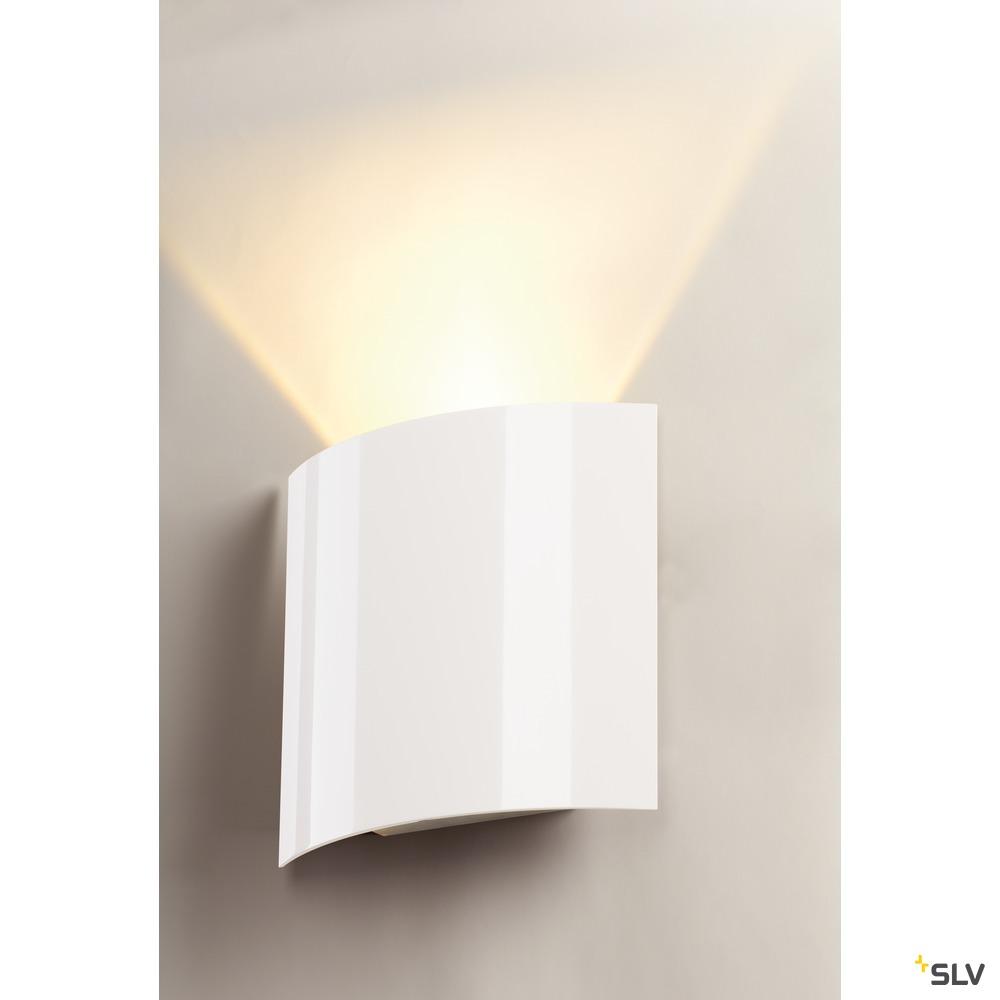 LED SAIL 1, Wandleuchte, LED, 3000K, halbrund, weiß hochglänzend, L/B/H 21/6/20