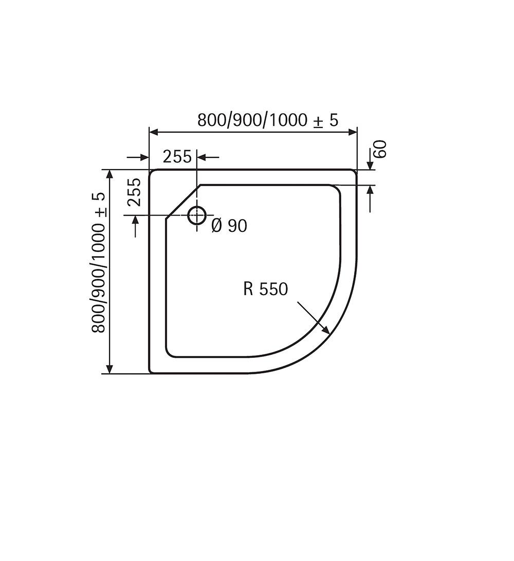 HSK Acryl-Duschwannen, superflach - Viertelkreis 100x100 inkl. AntiSlip-Beschichtung Bahama-Beige