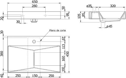 Thielsch Badkeramik Design-Waschtisch inkl. Hahnbank & Hahnloch