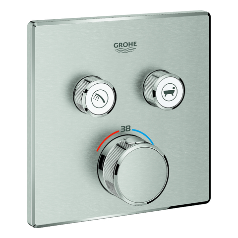 GROHE Thermostat Grohtherm SmartControl 29124 eckig FMS 2 ASV supersteel