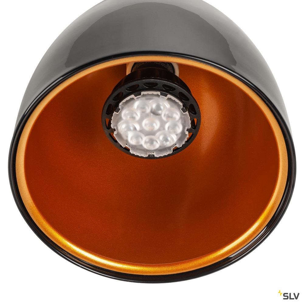 1~ PARA CONE 14 QPAR51, 1 Phasen System Leuchte, schwarz/gold, inkl. 1 Phasen-Adapter