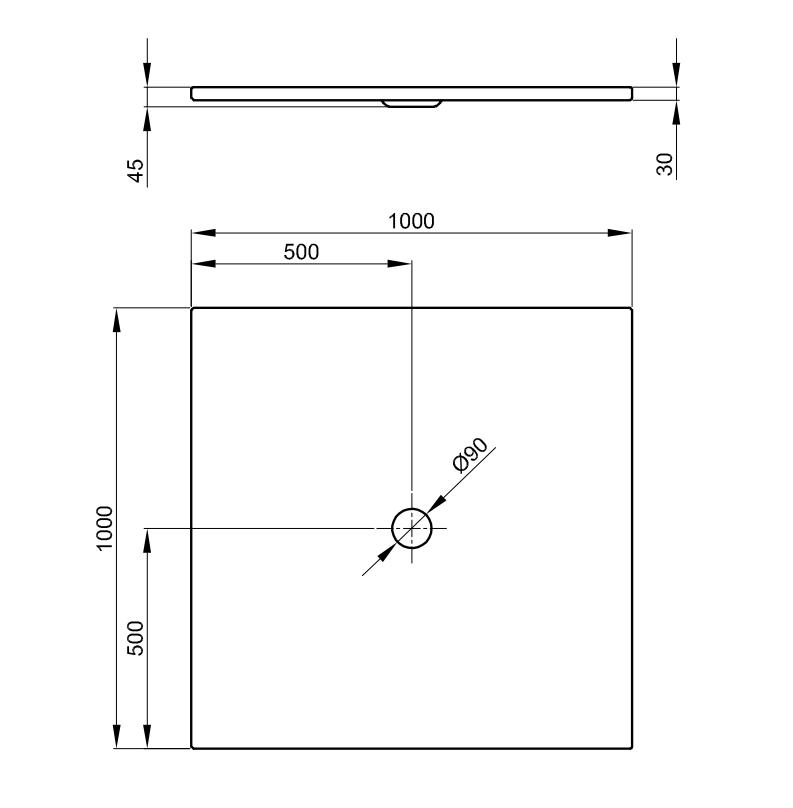 Bette Floor - 1000x1000 mm Bahama Beige (003) exkl. Antirutsch inkl. Wannenträger