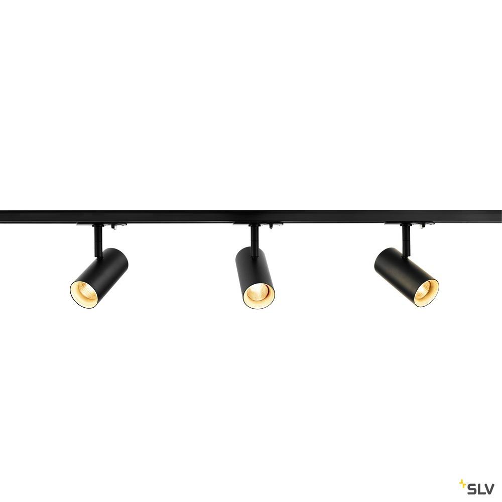 1Ph NOBLO SPOT SET 2700K schwarz inkl. drei Spots, zwei Schienen je 1m, einem Einspeiser sowie einem Längsverbinder
