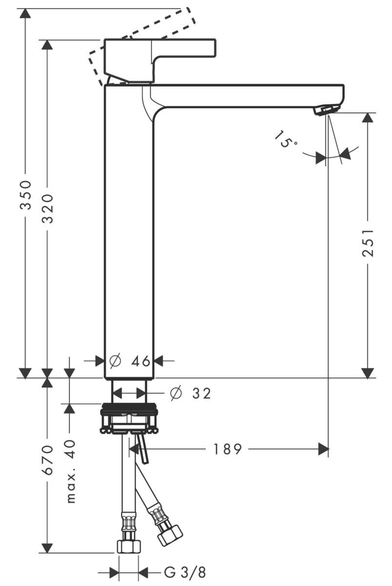 HG Waschtischmischer Metris S Highriser ohne Ablaufgarnitur chrom