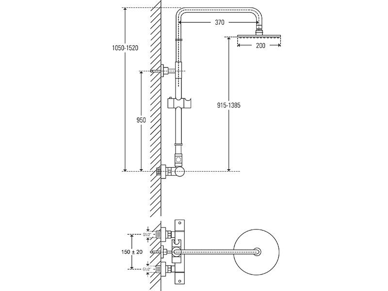 Treos Duschsystem Thermostat mit Regenbrause Serie 173