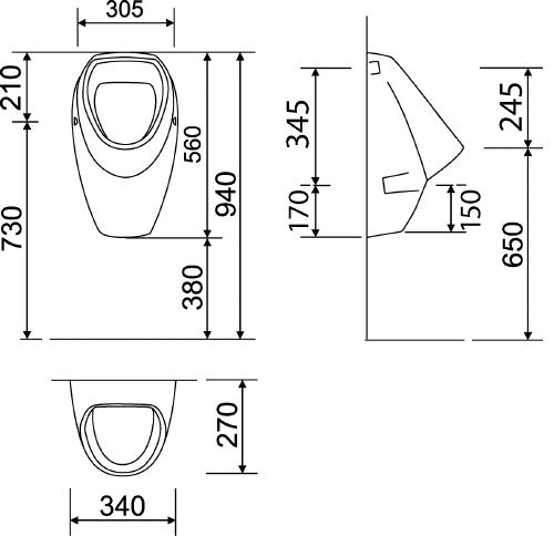 Thielsch Badkeramik Universal Urinal