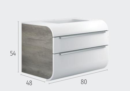 Thielsch Badmöbel Happy 80 inkl. Waschtisch Cloud Grey Glanzlackiert, PVC Nebraska Grau, Indigo Blue Mattlackiert
