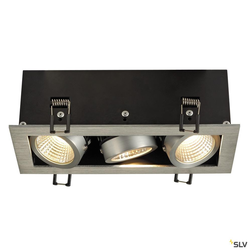 KADUX 3 SET, Einbauleuchte, dreiflammig, LED, 3000K, rechteckig, aluminium gebürstet, 38°, 3x9W, inkl. Treiber