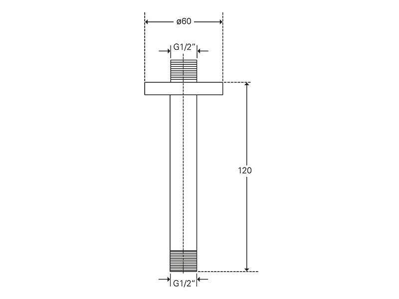 Treos Brausearm 120 mm f. Deckenmontage Serie 173
