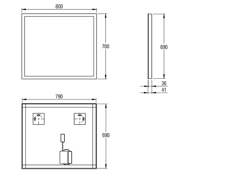 Treos Wandspiegel eckig 800x700l mm