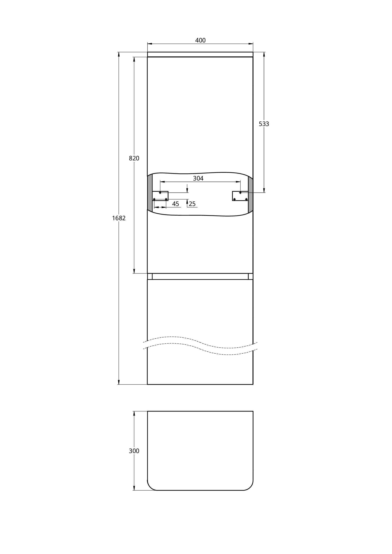 Treos Seitenschrank mit Türanschlag rechts, weiss, 400x340x1700 mm