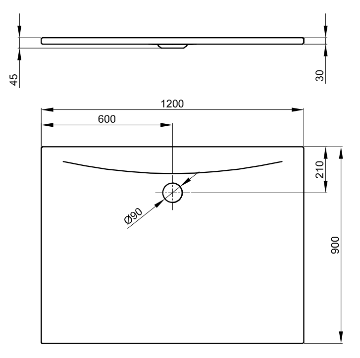 Bette Floor Side - 1200x900 mm Weiß inkl. Antirutsch exkl. Wannenträger