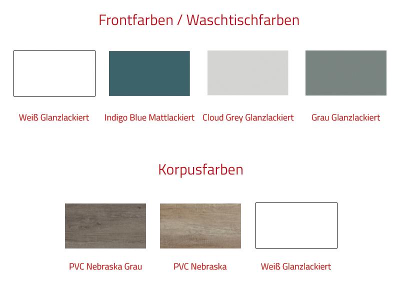 Thielsch Badmöbel Happy 120 inkl. Doppelwaschtisch Grau Glanzlackiert, PVC Nebraska Grau, Cloud Grey Glanzlackiert