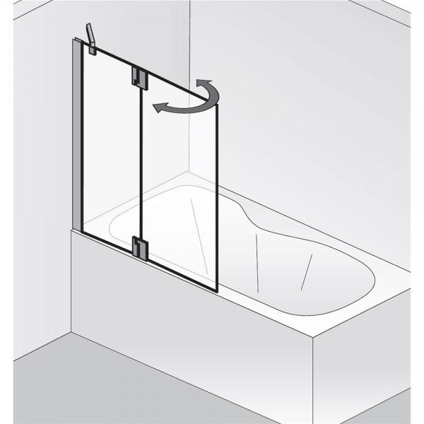HSK K2P Badewannenaufsatz 1 festes Nebenteil + 1 bewegliches Element Rechts exkl. Aufmaßservice ohne Handtuchhalter Mattglas (sandgestrahlt) ohne Beschichtung